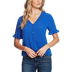 CeCe Ruffle-Sleeve Button-Front Blouse