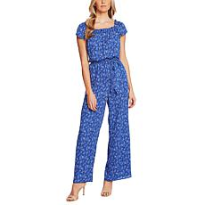 CeCe Square-Neck Toile-Print Belted Jumpsuit
