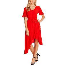 CeCe V-Neck Ruffle Dress