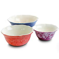 Central Town by Gibson  3 Piece Scalloped Bowls in Assorted Colors