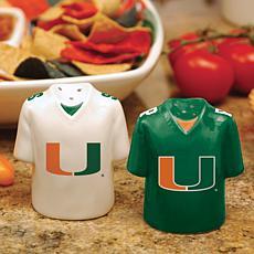 Ceramic Salt and Pepper Shakers - Miami Hurricanes