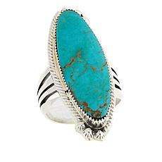 Chaco Canyon Ceremonial Green Turquoise Elongated Ring