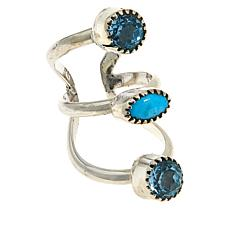Chaco Canyon Couture Turquoise and Blue Topaz Ear Climber Earrings