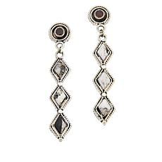 "Chaco Canyon Couture ""White Buffalo"" Howlite and Garnet Drop Earrings"