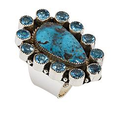 Chaco Canyon Kingman Turquoise and Swiss Blue Topaz Statement Ring