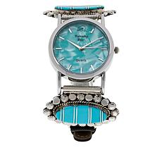Chaco Canyon Kingman Turquoise Inlay Zuni Leather Strap Watch