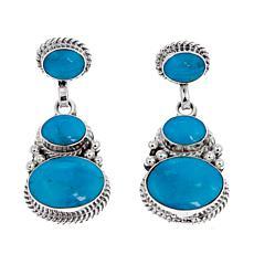Chaco Canyon Oval Kingman Turquoise 3-Stone Earrings