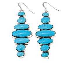 Chaco Canyon Oval Kingman Turquoise 7-Stone Earrings