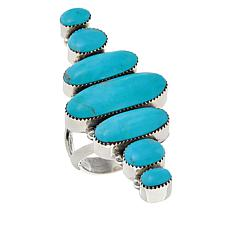 Chaco Canyon Oval Kingman Turquoise 7-Stone Statement Ring