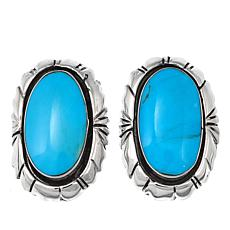 Chaco Canyon Oval Kingman Turquoise Sterling Silver Earrings