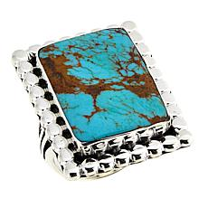 Chaco Canyon Rectangular Ceremonial Green Turquoise Statement Ring