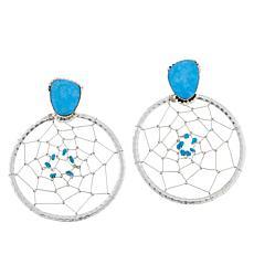 "Chaco Canyon Sleeping Beauty Turquoise ""Dreamcatcher"" Earrings"