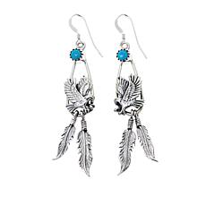 Chaco Canyon Sleeping Beauty Turquoise Eagle and Feather Earrings