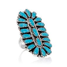 Chaco Canyon Southwest Zuni Turquoise Cluster Ring