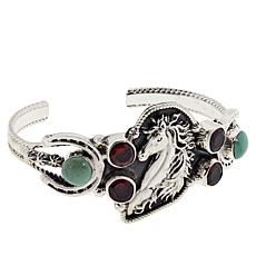 Chaco Canyon Sterling Silver Ceremonial Turquoise & Garnet Horse Cuff