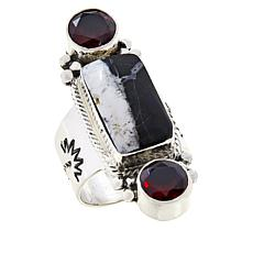 Chaco Canyon Sterling Silver Garnet and Howlite Ring
