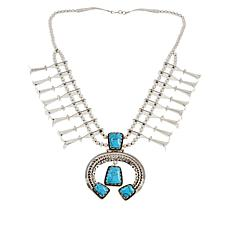 Chaco Canyon Sterling Silver Kingman Turquoise Squash Blossom Necklace