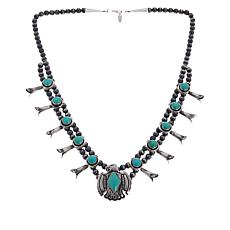 """Chaco Canyon Sterling Silver Kingman Turquoise """"Thunderbird"""" Necklace"""