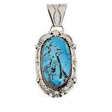 Chaco Canyon Sterling Silver Navajo Kingman Turquoise Pendant