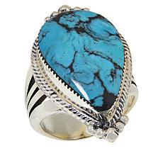 Chaco Canyon Sterling Silver Pear-Shaped Kingman Turquoise Ring