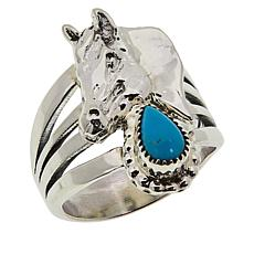 Chaco Canyon Sterling Silver Sleeping Beauty Turquoise Horse Ring