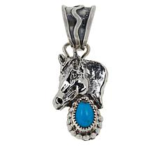 Chaco Canyon Sterling Silver Sleeping Beauty Turquoise Horse Pendant