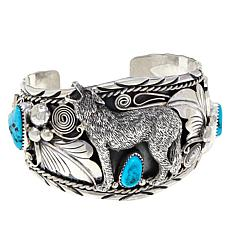 Chaco Canyon Sterling Silver Sleeping Beauty Turquoise Wolf Cuff