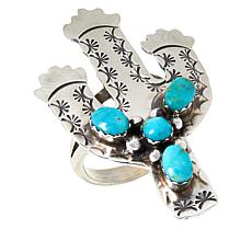 Chaco Canyon Sterling Silver Turquoise Cactus Ring