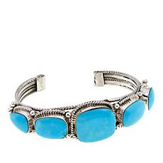 Chaco Canyon Turquoise 5-Stone Turquoise Sterling Silver Cuff Bracelet