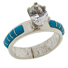 Chaco Canyon White Topaz and Sleeping Beauty Turquoise Ring