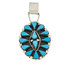 Chaco Canyon Zuni Sleeping Beauty Turquoise Oval Pendant