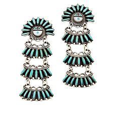 Chaco Canyon Zuni Sleeping Beauty Turquoise Sunface Earrings