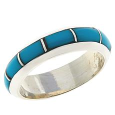 Chaco Canyon Zuni Sterling Silver Kingman Turquoise Stack Ring