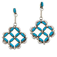 Chaco Canyon Zuni Sterling Silver Turquoise Geometric Drop Earrings