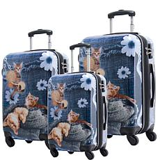 Chariot 3-piece Hardside Luggage Set - Denim Kitty