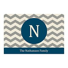 Chevron Family Name Personalized Door Mat - Blue