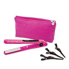 CHI Metallic Pink Smart GEMZ Volumizing Hairstyling Iron w/Clips & Bag