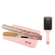 """CHI Pink Bubbly 1"""" Flat Iron Brush and Mat"""