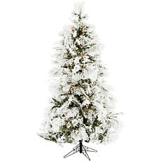 Christmas Time 6.5' Frosted Fir Christmas Tree w Clear LED StringLight