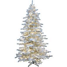 Christmas Time 6.5' Silverado Pine Flocked Slim Tree, Multicolor LEDs