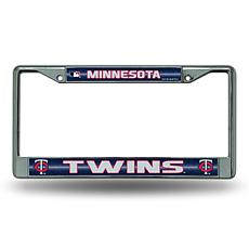 Chrome License Plate Frame w/Bling - Minnesota Twins
