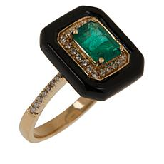 Cirari 14K Gold Emerald, Onyx and Diamond Ring
