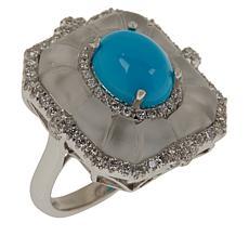 Cirari 14K Gold Turquoise, Rock Crystal and Diamond Octagonal Ring