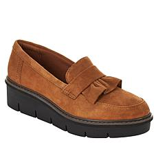 Clarks Collection Airabell Slip Suede Wedge Loafer