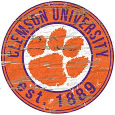 Clemson University Distressed Round Sign