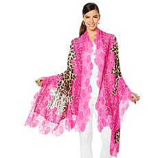 Clever Carriage Company Leopard Print Handappliqued Lace Scarf