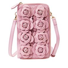 Clever Carriage Handcrafted Leather Rose Phone and Wallet Crossbody