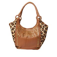 Clever Carriage Majestic Leather Haircalf Leopard Handcrafted Hobo