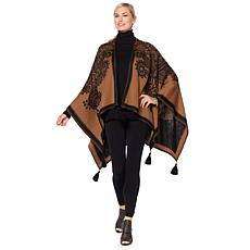 Clever Carriage Roma Reversible Jacquard Poncho