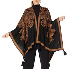 Clever Carriage Roma Reversible Jacquard Poncho with Tassels